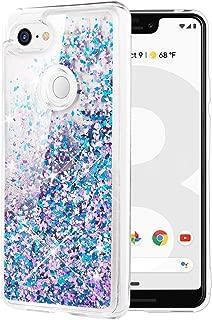 Caka Google Pixel 3 XL Case, Google Pixel 3 XL Glitter Case Liquid Series Luxury Fashion Bling Flowing Liquid Floating Sparkle Girly Soft TPU Case for Google Pixel 3 XL (Blue Purple)