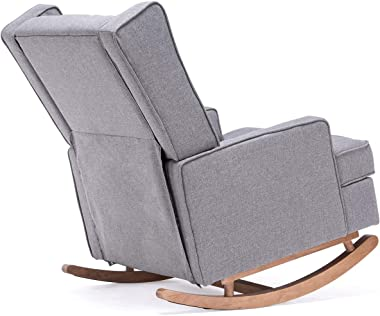 YOLENY Mid CenturyRocking Chairwith Two Sets of Legs,Linen Fabric Glider Rocker Chair with Padded Seat,Upholstered Single S