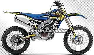 Kungfu Graphics Custom Decal Kit for Yamaha YZF450 YZ450F YZ250FX YZ450FX 2014 2015 2016 2017, Black White Blue,style 002