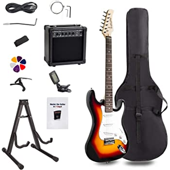 Display4top Full-Size Electric Guitar Most complete Beginner Super Kit Package with 20 Watt Amplifier, Guitar Stand, Bag, Guitar Pick, Strap,spare Strings, Tuner, Case and Cable (Sunburst)