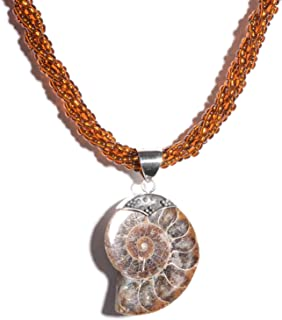 925 Sterling Silver Ammonite Pendant Statement Necklace for Women Gift Jewelry 20