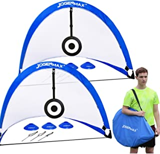JOGENMAX Pop Up Soccer Goal, Set of 2 Portable Soccer...