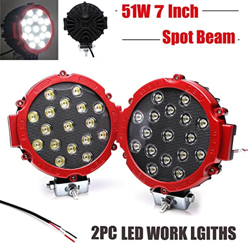 """2021 51W 7"""" Round Spot lowest Led Work Light Fog Driving Day popular Running Lamp 6000K Waterproof for Off Road Truck Jeep 4WD 4X4 SUV ATV Boat, Pack of 2 (Red) online"""