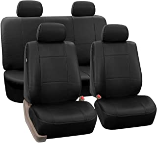 FH Group Universal Fit Seat Cover - Faux Leather (Full Set with 4 Headrest Covers), Solid Black, PU001BLACK114