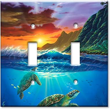 Art Plates - Double Gang Toggle OVERSIZE Switch Plate/OVER SIZE Wall Plate - Sea Turtles