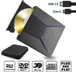 Grabadora BLU Ray Externa Unidad Disco óptico Bluray Externo 3D Lector Reproductor bluray 4k USB 3.0 y Type-C, Slim Grabadora Bluray Externo CD DVD Combo para Windows XP 7 8 10, MacOS, Vista