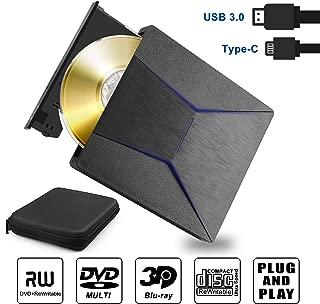 External Blu ray DVD Drive 3D, Slim External Bluray Player USB 3.0 & Type-C CD DVD Bruner Blu-ray Drive Reader Recorder Combo for Windows XP 7 8 10,Vista, MacOS for MacBook, Laptop, Desktop
