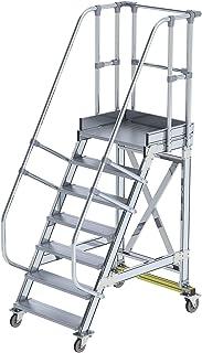 Aluminio-plataforma-escalera, con ruedas, 60 °, niveles de ancho de
