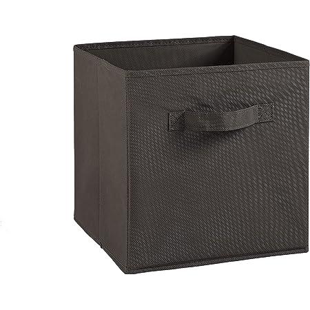 Compo Boîte de Rangement Tiroir avec Poignée en Tissu Taupe 27 x 27 x 28 cm