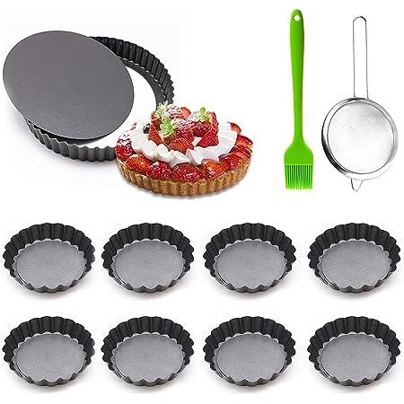 TWBEST Quiche Tart Pan,Juego de 10 piezas Molde Quiche Tart Pan Antiadherentes/8 Molde para Mini Quiche+1 colador +1 cepillo de silicona-Pie Pan 10*2cm