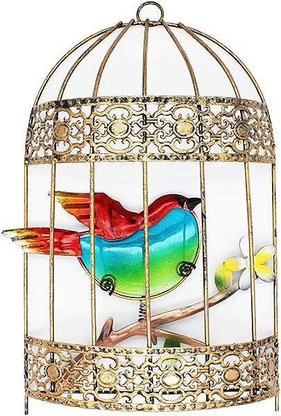 VOTENVO Galvanized Colorful Art Birdcage Wall D Cor Metal Bird Cage Wall Art Plaque Metal Iron Decorative Painting Red Bird