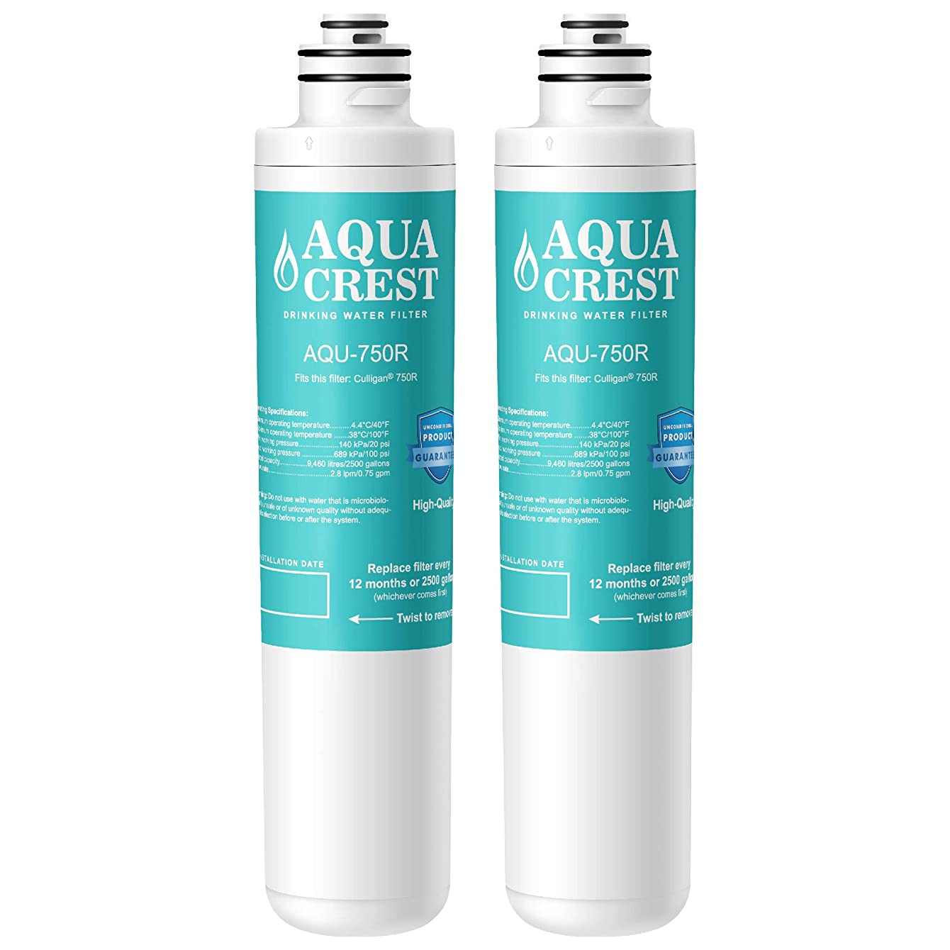 AQUACREST 750R Drinking Water Filter, Compatible with Culligan 750R Level 1 (Pack of 2)