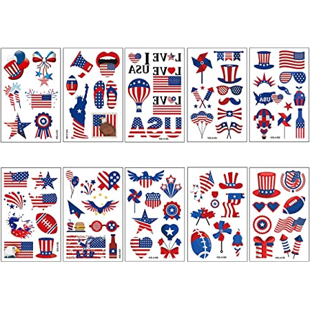 10 Sheets Independence Day Temporary Tattoo Stickers July 4th Body Art Decoration American National Flag Tattoos for Face Arm Cheek Waist Water Transfer Party Favor Accessories for Men Women Kids