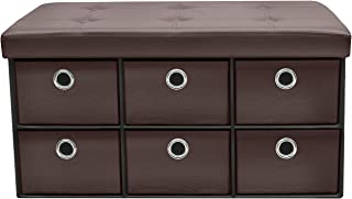 Sorbus Storage Ottoman Bench with 6 Drawers,Collapsible Folding Bench Chest with Cover, Perfect for Entryway, Bedroom, Cubby Drawer Footstool, Contemporary, Faux Leather (Chocolate)