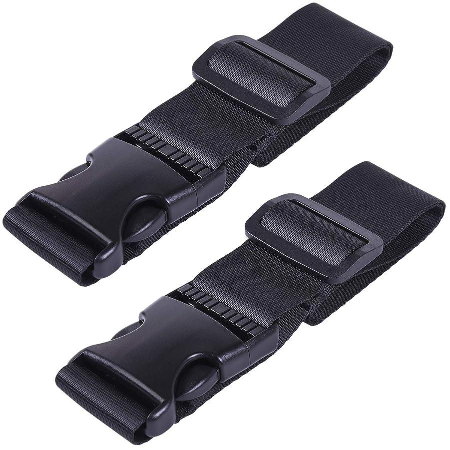 感覚発音才能のある荷物ストラップ Wisdompro? スーツケースベルト スーツケース連結/荷物まとめ·接続用 調節可能 旅行用品 2本入り ブラック