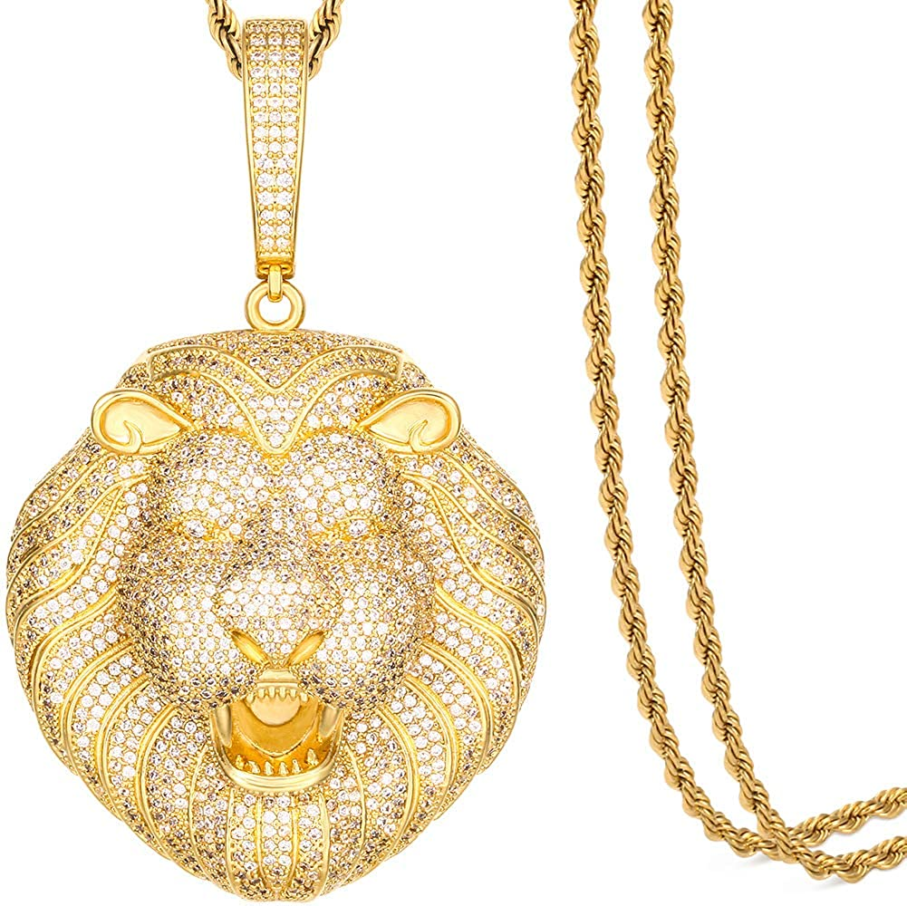 Direct stock discount Spring new work TUHE Hip Hop Jewelry 3D Lion Women Men Pendant Necklace Head for