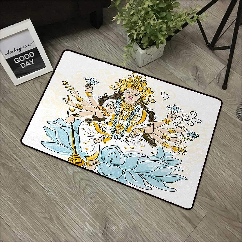 Interior Door mat W31 x L47 INCH Ethnic,Sketch of Figure with Lotus Flowers Blessing Asian Culture Artwork,Light bluee Marigold White Non-Slip Door Mat Carpet