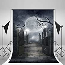 RBabyPhoto 5X7FT Halloween Backdrop All Saints' Day Horror Moon Night Gloomy Metal Gate Gothic Haunted Castle Photography Background for Kids Adults Carnival Masquerade Photo Studio Props Vinyl CK65