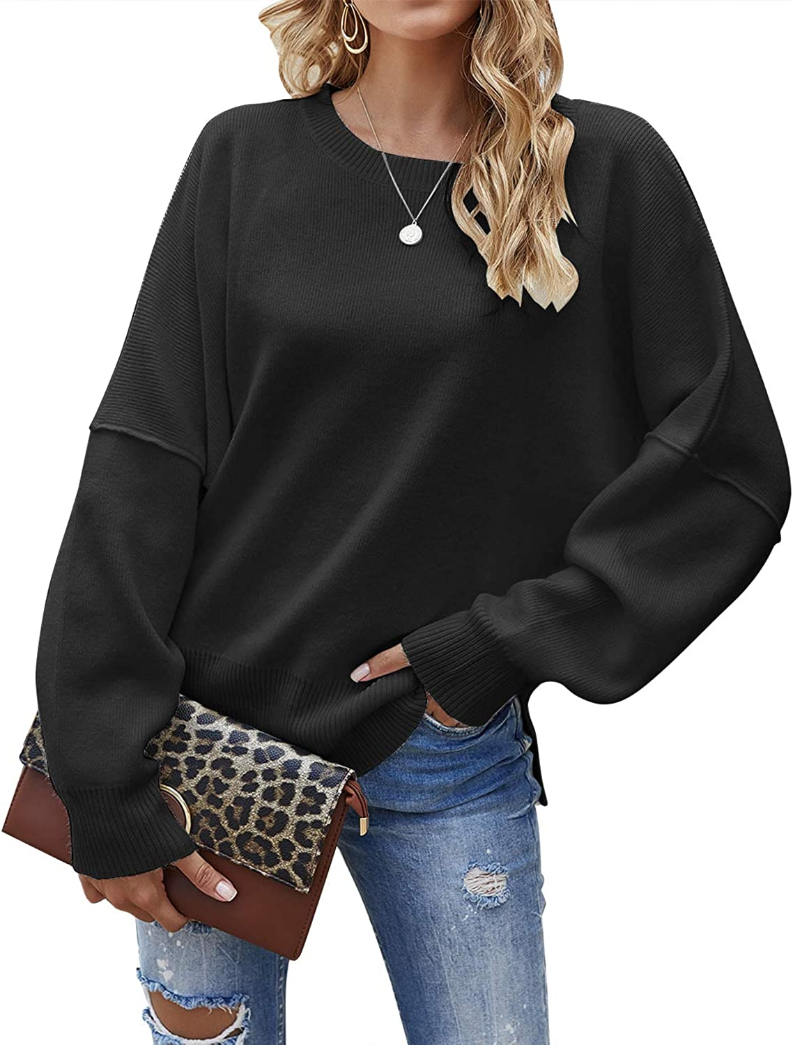 Jacansi Women's Casual Crew Neck Pullover Sweater Side Split Loose Long Sleeve Knit Sweaters Jumper Tops