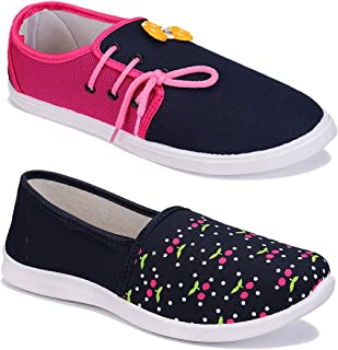 WORLD WEAR FOOTWEAR Women Multicolour Latest Collection Sneakers Shoes- Pack of 2 (Combo-(2)-1451-11028)