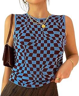 SMIMGO Camiseta sin mangas de punto acanalado para mujer, estilo informal, de verano, con teñido anudado, color azul y azul