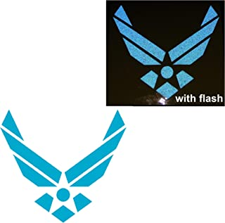 Air Force U.S. US Military Soldier Light Blue Reflective United States Challenge Decal Defense Flag USA Support Hero Shield Window Decal Sticker Motorcycle Door Motorbike Badge Car Truck Tailgate