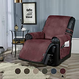 STONECREST Classic Home Decor, Inc Pet Sofa Protector, Water Resistant Faux Leather Slipcover, Washable Furniture Couch Cover for Kids with Straps (Burgundy, 28 Recliner)