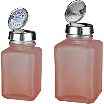 Menda MDA-4445 4oz Pure Touch and 6oz One Touch Square Frosted Glass Bottles Kit with Stainless Steel Closure, Pink