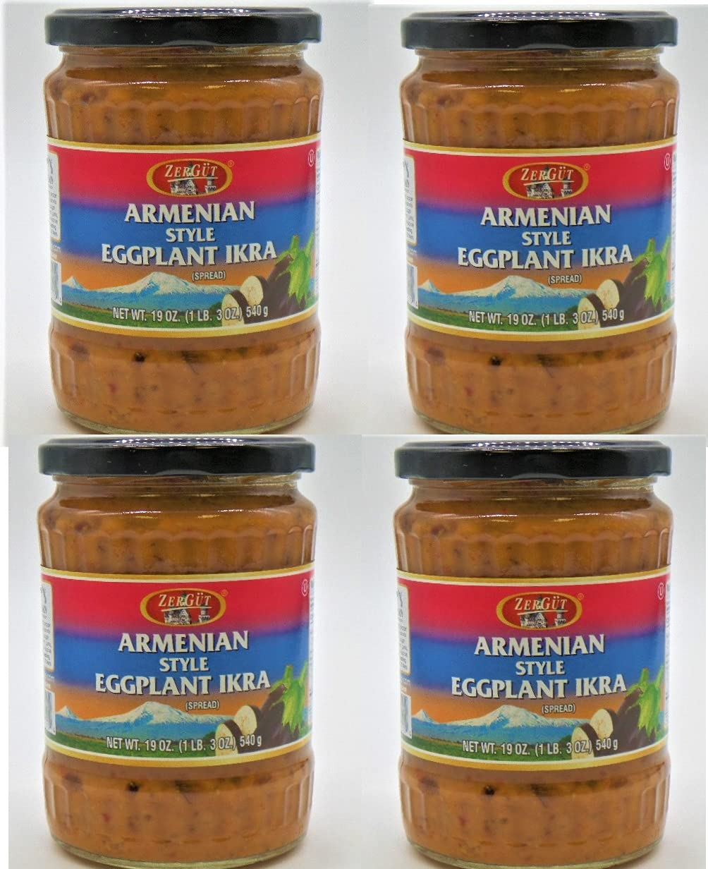 ZerGut Omaha Mall Armenian Max 77% OFF Style Eggplant Ikra Kosher Jars 540 4 Glass 19OZ