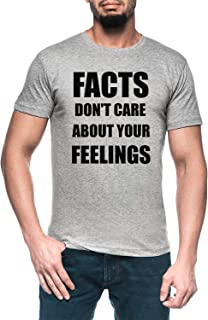 Facts Dont Care About Your Feelings Hombre Gris Camiseta Manga Corta Men's Grey T-Shirt
