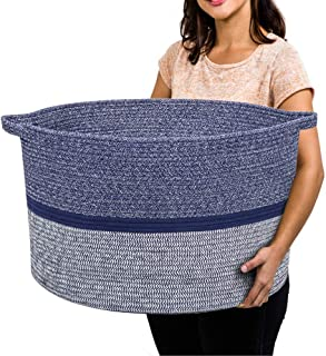 RUNKA Extra Large Storage Basket 60cm x 36cm , Soft Woven Large Basket with Handles,Extra Large Basket and Organiser for L...