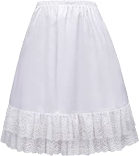 Satin Half Slip Lace Hem Dress Skirt Extender Crinoline Underskirt