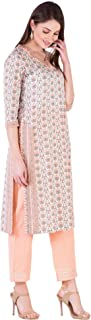 Khushal K Women's Cotton Printed Kurta With Palazzo Pant Set