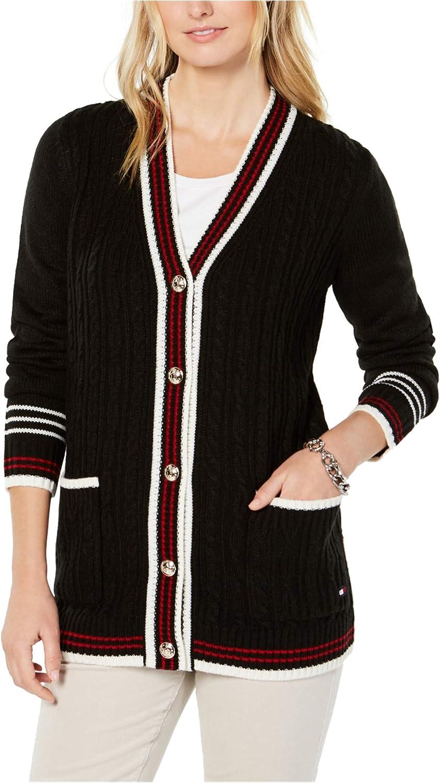 Tommy Hilfiger Womens 公式サイト Mixed 最安値 Knit X-Smal Black Sweater Cardigan