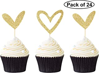 24 PCS Gold Glitter Heart Cupcake Toppers Cute Design Love Cupcake Toppers for Wedding Bridal Anniversary Baby Shower Party Decorations Supplies
