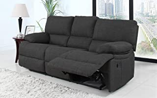 Divano Roma Furniture Classic and Traditional Dark Grey Fabric Oversize Recliner Chair, Love Seat, and Sofa (3 Seater)