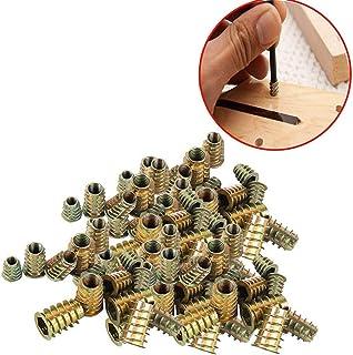 Wohlstand100 pcs/bolsa Rosca Hex Socket,Aleación Zinc Insertos de RoscaM4*10mm/M5*10mm/M6*12mm/M8*14mm,Carpintería Madera Kit de Herramienta de Surtido de Tuercas para Mueble de Madera (4 Tamaños)