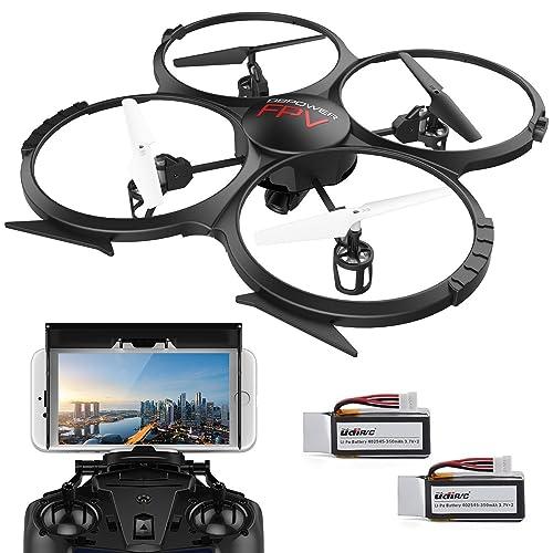 DBPOWER Drone avec Caméra HD 720P Vidéo en Direct WiFi FPV Version U818A Quadcoptère RC avec Mode Headless Contrôle Facile pour des Gamins Les Débutants