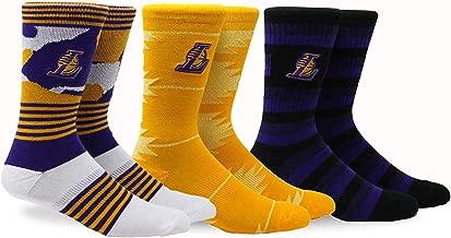 Pkwy NBA Unisex Crew Socks/Lakers Court 3 pk