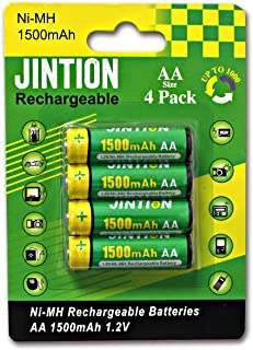 JINTION Rechargeable AA Batteries 4 Pack 1.2V Ni-MH 1500mAh Battery High Capacity Low self Discharge Pre-Charged AA Rechar...