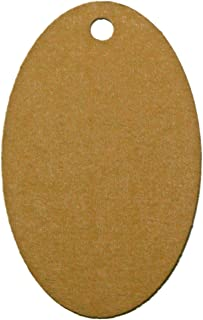 60 Oval Cardstock Hang Tags with Holes, Personalize and Custom, 1.75 x 2.75 inches, Brown Kraft