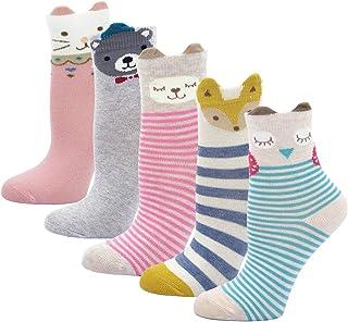 PUTUO Calcetines de Algodón Niñas Navidad Calcetines Animales, Niña Calcetines de Invierno Lindo Calcetines de Divertidos ...