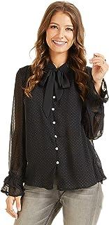 SONJA BETRO Women's Chiffon Button Down Shirt Blouse Top Tie Ruffle Ballon Sleeve Tie Small Black Orange