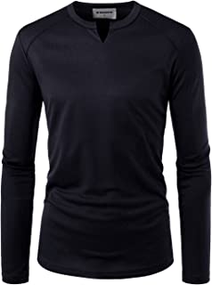 NEARKIN Mens Long Sleeve Slit Neck Casual Solid Coolmesh T Shirts