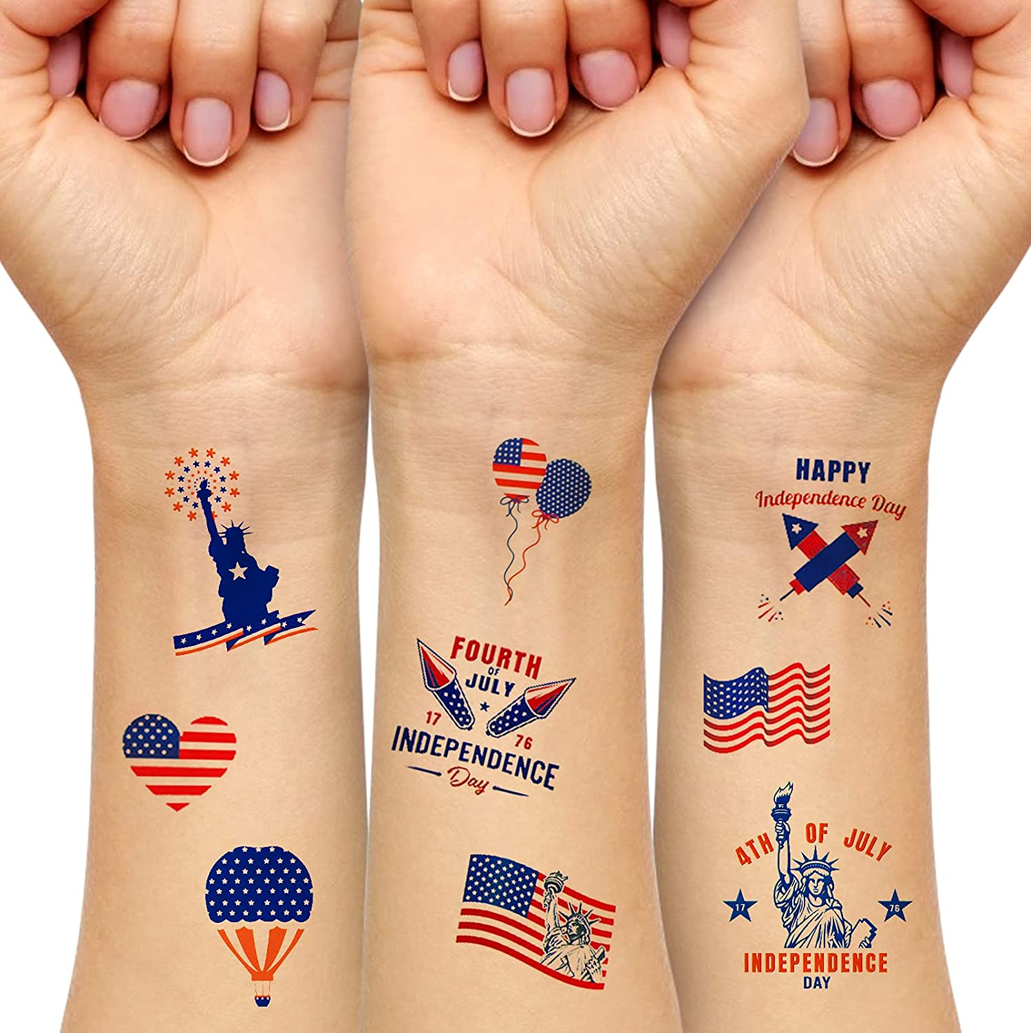Patriotic Temporary Some reservation Tattoos 10 Sheets Red 2021 new US Wh Flag Waterproof