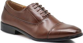 Enzo Romeo LK01 Men Dress Loafers Cap Toe Lace Up Formal Business Designer Oxfords Dress Shoes