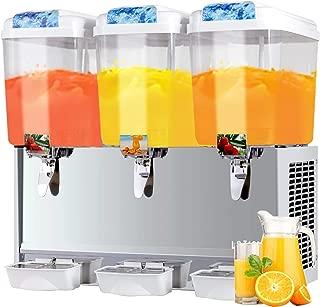 SUNCOO Commercial Juice Dispenser - 14.25 Gallon Cold Beverage Dispenser Temperature Control 380W, 4.75 Gallon Per Tank, 3 Tank with Spigot, Stainless Steel