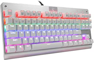 e元素メカニカル式ゲーミングキーボード 赤軸抗干渉アンチゴーストキー レインボーLEDバックライト付き USB有線英語配列87キー 防水機能付き LOLゲーム専用キーボード (赤軸, ホワイト)