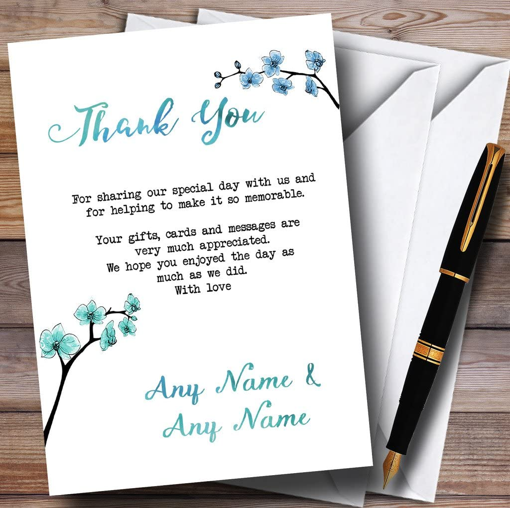 Blue /& Green Cherry Blossom Watercolour Personalized Wedding Thank You Cards