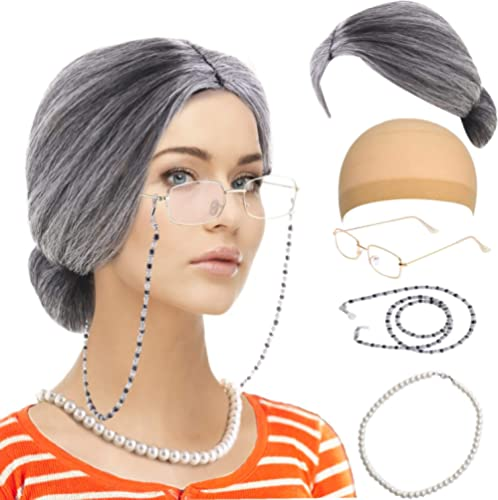 Old Lady Costume Set-Grandmother Wig,Wig Caps,Madea Granny Glasses, Eyeglass Retainer Chain,Pearl Necklace(5 Pieces) ...